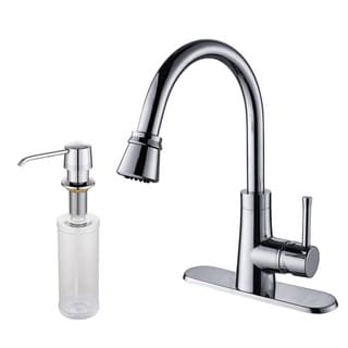 Kraus Brass Single-lever Pull-out Kitchen Faucet and Soap Dispenser