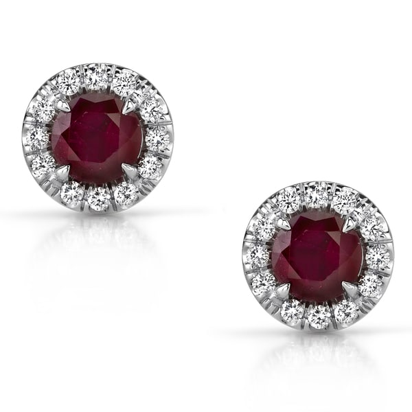 14k White Gold Ruby and 1/5ct TDW Diamond Earrings