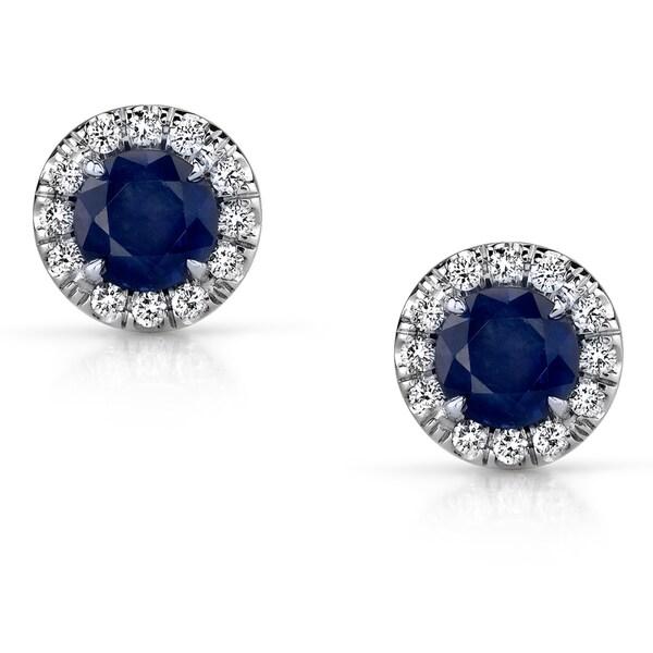14k White Gold Blue Sapphire and 1/5ct TDW Diamond Earrings