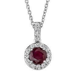 14k White Gold Ruby and 1/6ct TDW Diamond Necklace