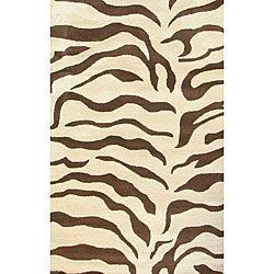 nuLOOM Zebra Animal Pattern Brown/ Ivory Wool Rug (9'6 x 13'6)