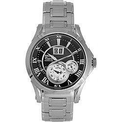 Seiko Men's Kinetic Premier Perpetual Steel Black Dial Watch