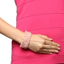Glitzy Rocks Multi-row Rose Quartz Chip Stretch Bracelet