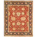 Oushak Hand-knotted Red/ Navy Wool Rug (9' x 12')