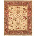 Oushak Legacy Hand-knotted Mahal Ivory/ Red Wool Rug (9' x 12')