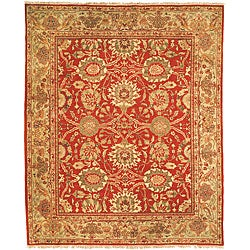 Oushak Legacy Hand-knotted Sarouk Red/ Green Wool Rug (9' x 12')