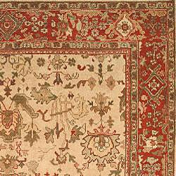 Herati Hand-knotted Ivory/ Red Hand-spun Wool Rug (6' x 9')