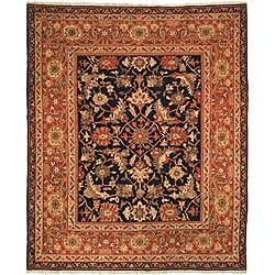 Oushak Legacy Hand-knotted Black/ Rust Wool Rug (8' x 10')