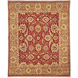 Oushak Legacy Hand-knotted Red/ Green Wool Rug (6' x 9')