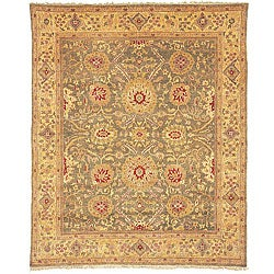 Oushak Hand-knotted Birj Green/ Gold Wool Rug (8' x 10')