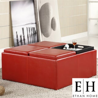 ETHAN HOME Charlotte Red Faux Leather Storage Cocktail Ottoman