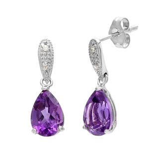 Kabella 14k Yellow Gold Amethyst and 1/10ct TDW Diamond Earrings