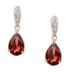 Kabella 14k Yellow Gold Garnet and 1/10ct TDW Diamond Earrings