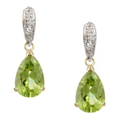 Kabella 14k Yellow Gold Peridot and 1/10ct TDW Diamond Earrings