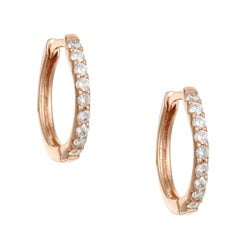 14k Rose Gold 1/5ct TDW Diamond Hoop Earrings