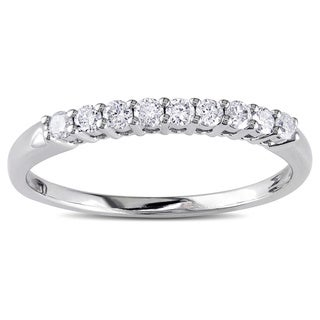 Miadora 14k White Gold 1/4ct TDW Diamond Wedding Band (G-H, I1-I2)