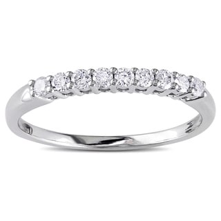 Miadora 14k White Gold 1/4ct TDW Round Diamond Anniversary Band (I-J, I1-I2)