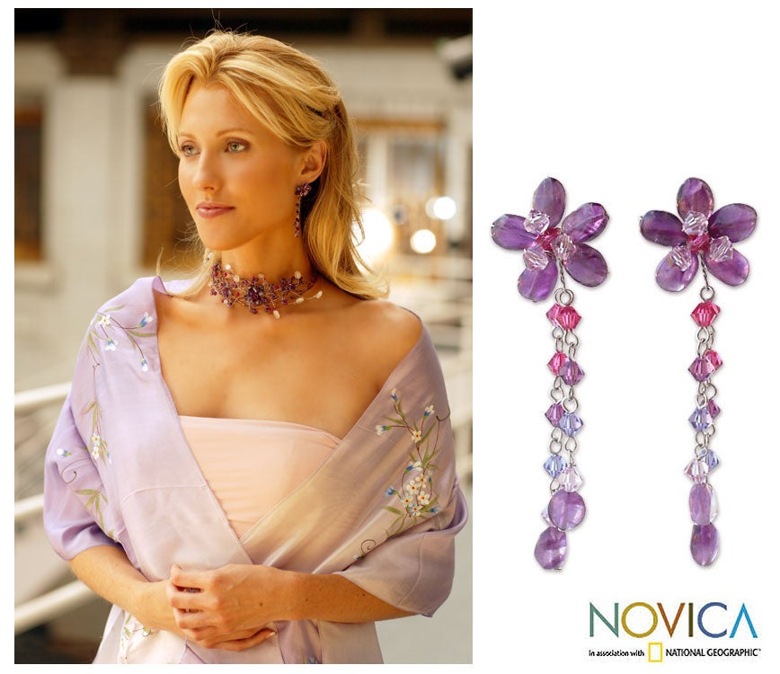 'Blossom Bounty' Amethyst Drop Earrings (Thailand)