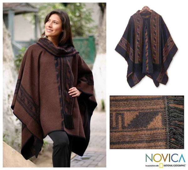 'Warm Earth' Alpaca Wool Reversible Poncho (Peru)