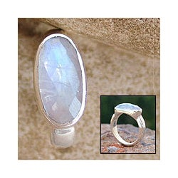 'Rainbow Mist' Moonstone Solitaire Ring (India)