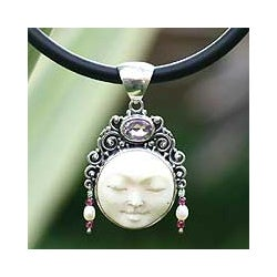 Sleeping Beauty Handmade Artisan Fashion Accessory Goddess Jewelry Silver Pearl Amethyst Gemstone Pendant Necklace (Indonesia)
