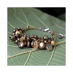 'Leaf Doctrine' Pearl and Citrine Cluster Bracelet (Thailand)