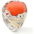 Michael Valitutti Two-tone Bamboo Coral and White Sapphire Ring