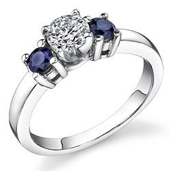 14k Gold 1/2ct TDW Diamond/ Sapphire 3-stone Ring (I-J, I1)