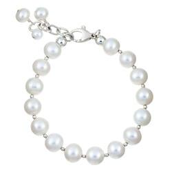 Charming Life Sterling Silver White Pearl Fringe Bracelet (9 mm)
