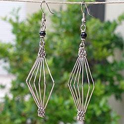 Bird Cage Electroplated Copper Earrings (Kenya)