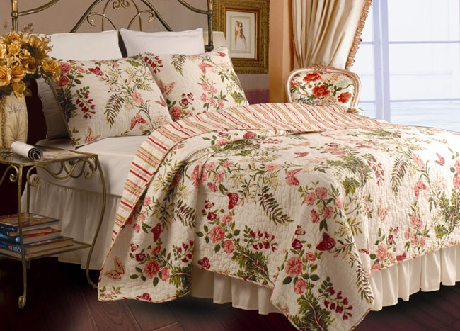 Greenland Home Fashions Butterflies 3-piece King-size Quilt Set