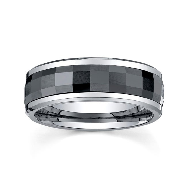 Men's Tungsten Carbide And Black Ceramic Spinner Band (8 mm)