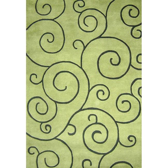 Alliyah Handmade Lime Green New Zealand Blend Wool Rug (5' x 8')