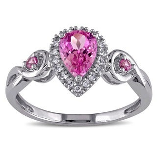 Miadora 10k Gold Diamond and Created Pink Sapphire Ring