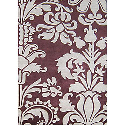 Alliyah Handmade Burgundy New Zealand Blend Wool Rug (5' x 8')