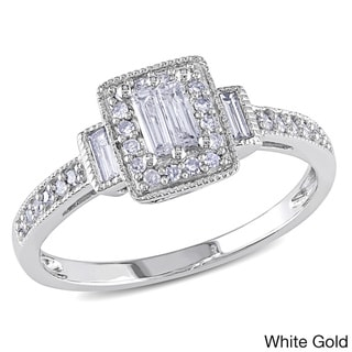 Miadora 10k Gold 1/3ct TDW Baguette-cut Diamond Halo Ring (H-I, I1-I2)