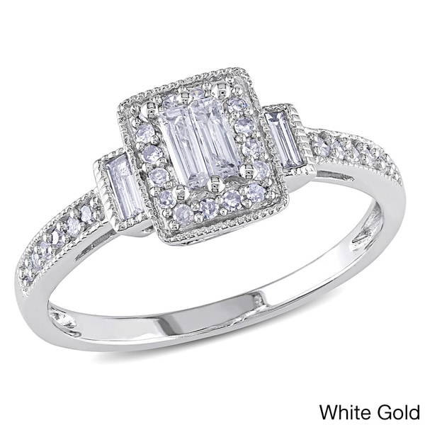 Miadora 1/3 CT Parallel Baguette and Round Diamonds TW Engagement Ring 10k White Gold GH I1;I2