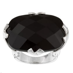 Kabella Sterling Silver Faceted Rectangular Black Agate Ring