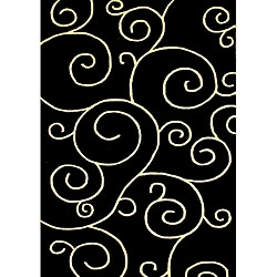 Hand-tufted Sarah Scrolls Black/ Light Gold Swirls Wool Rug (5' x 8')