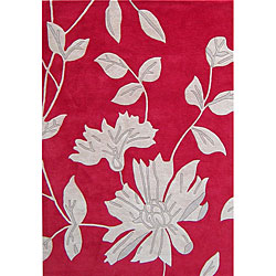 Alliyah Handmade Hongkong Red New Zealand Blend Wool Rug5' x 8')