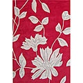 Hand-tufted Hongkong Red Wool Rug (5' x 8')