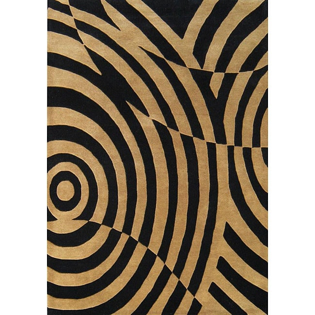 Alliyah Handmade Brown/ Black New Zealand Blend Wool Rug (5' x 8')