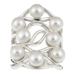 Kabella Sterling Silver Freshwater Pearl Wide Cluster Ring (6-6.5 mm)