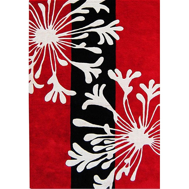 Alliyah Handmade Bright Red New Zealand Blend Wool Rug (5' x 8')