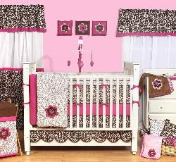 Bacati Damask Pink and Chocolate 10-piece Crib Bedding Set