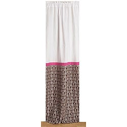 Bacati Pink and Chocolate Damask Curtain Panel (42 in. x 84 in.)