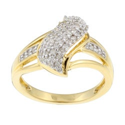 Sterling Silver/ 14k Gold Vermeil 1/4ct TDW Diamond Ring (K-L, I1-I2)