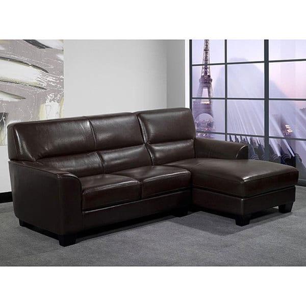 Pearce Dark Brown Bi Cast Leather Sectional Sofa