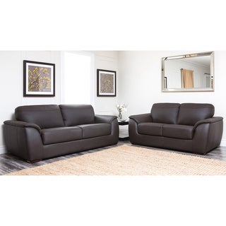 Abbyson Living Ashton Dark Brown Leather Sofa and Loveseat Set