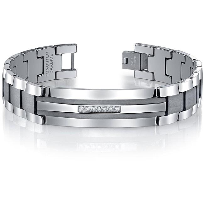 Men's Tungsten Stainless Steel 1/5ct TDW Diamond ID Bracelet